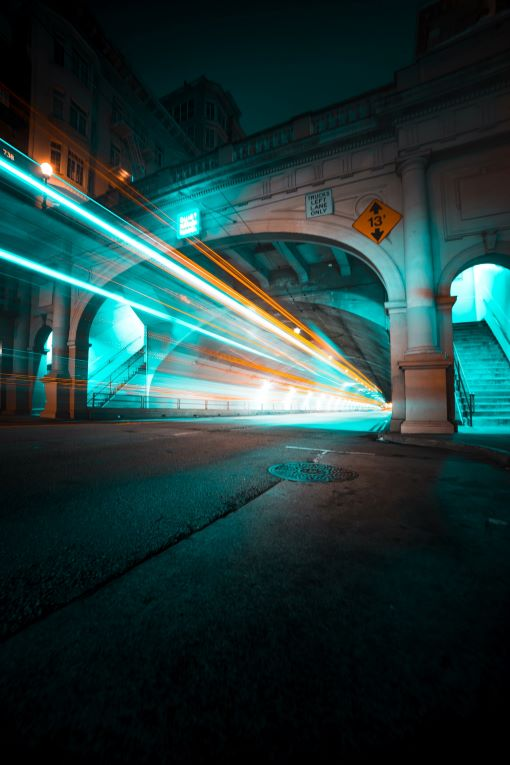 bridge with lights from cars