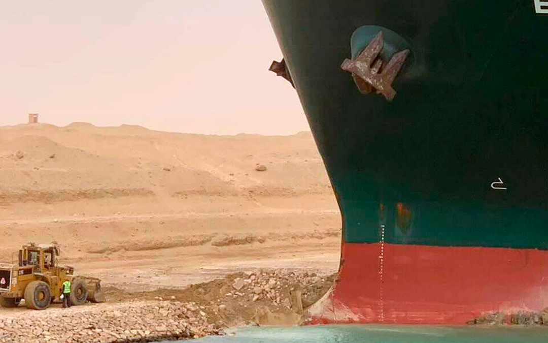 Evergiven vessel in the Suez canal